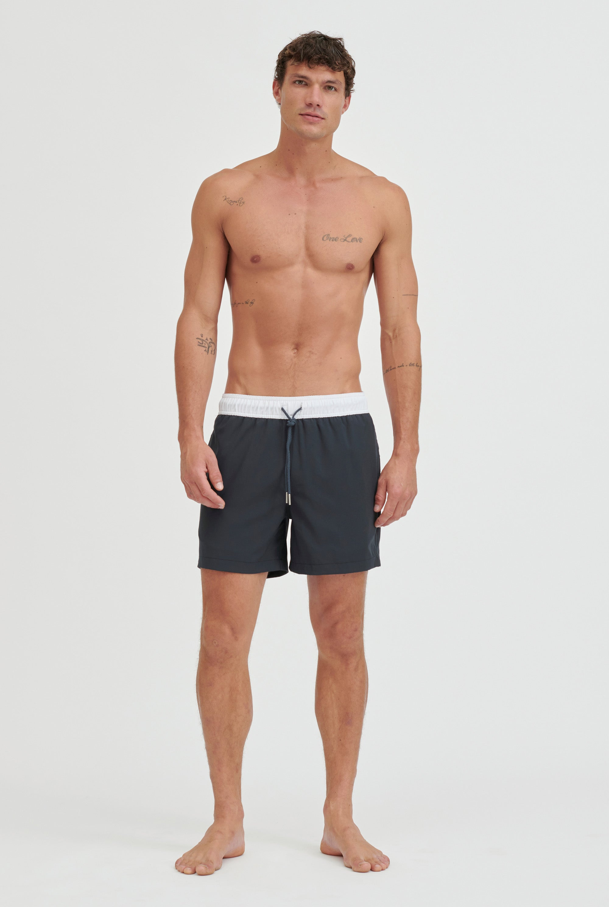 Stretch Swim Short - Navy/White Band