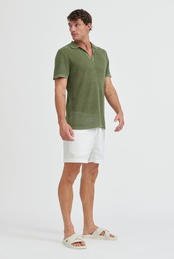 Rib Knit Open Neck Polo - Signature Green
