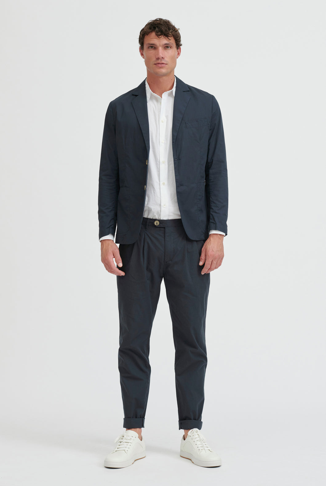 Poplin Unlined Blazer - Navy