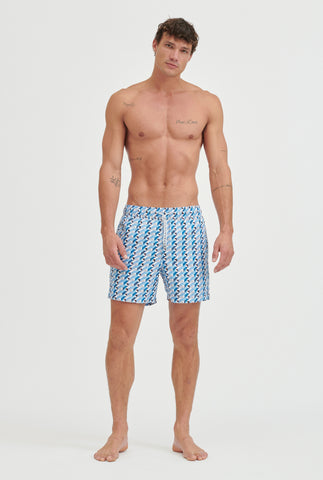 Printed Swim Short - Blue Geo Print