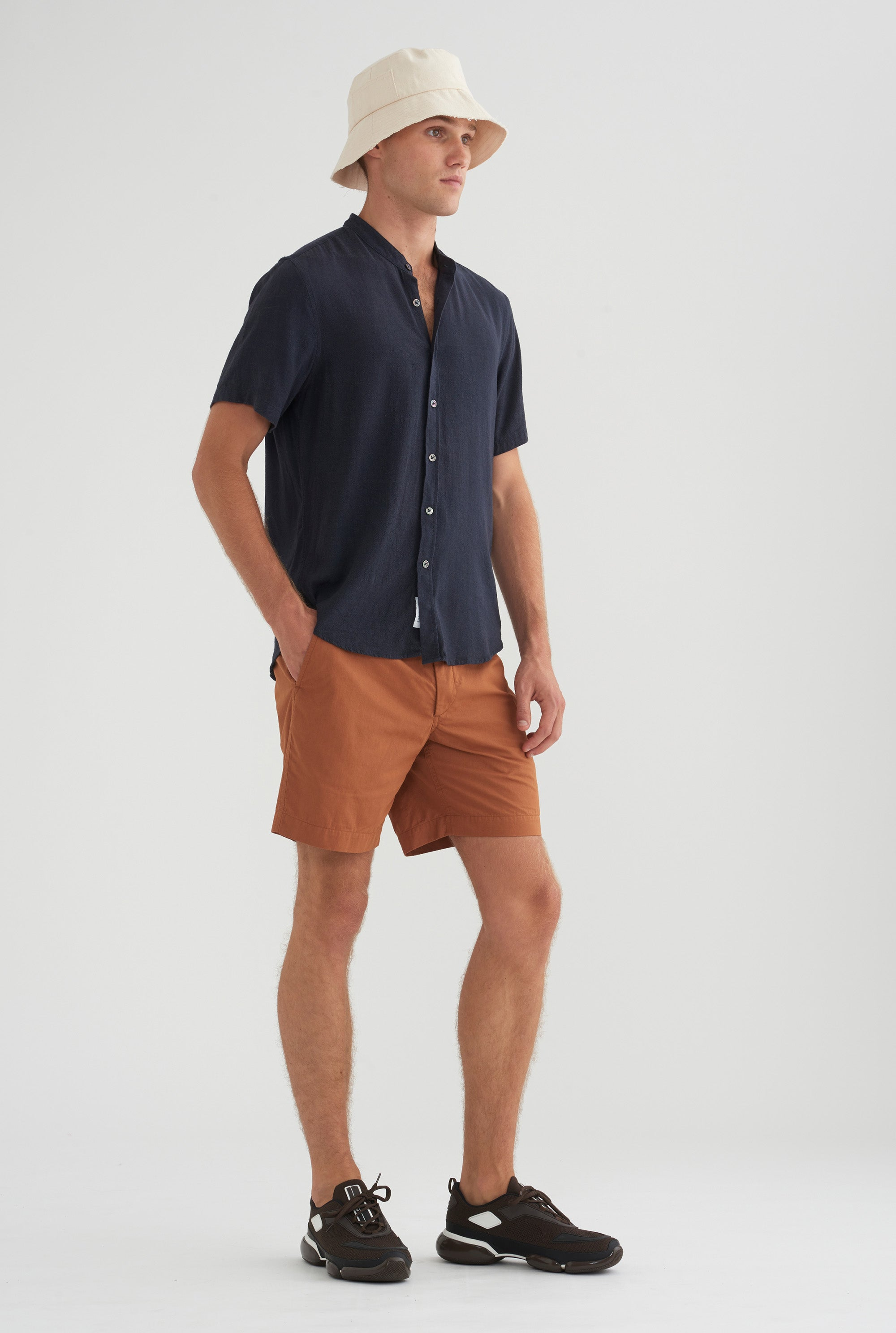 Short Sleeve Tencel Shirt - Navy