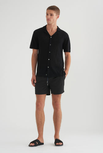 Short Sleeve Knitted Camp Collar Shirt - Black
