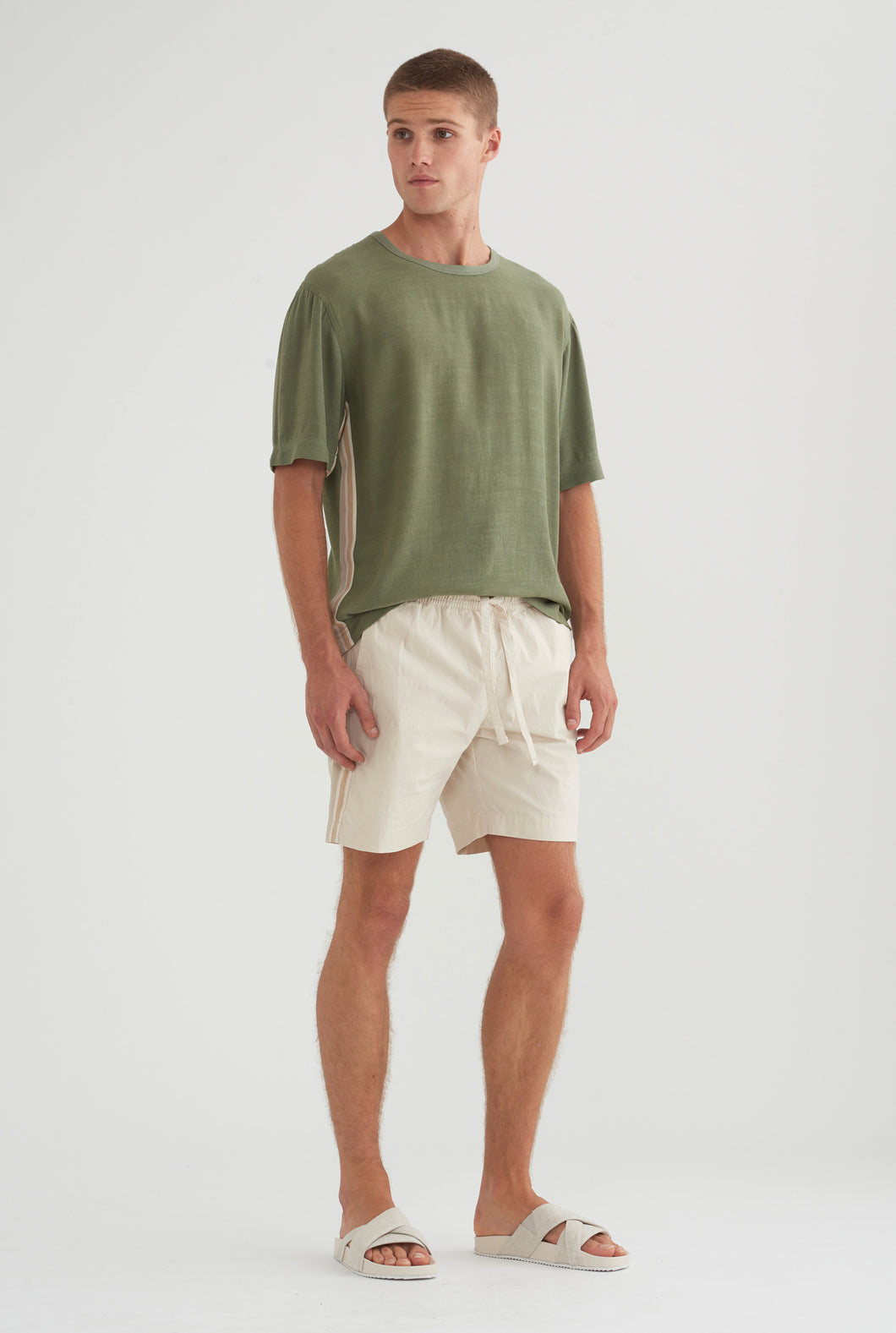 Cotton Stretch Short - Stone/Taupe Tape