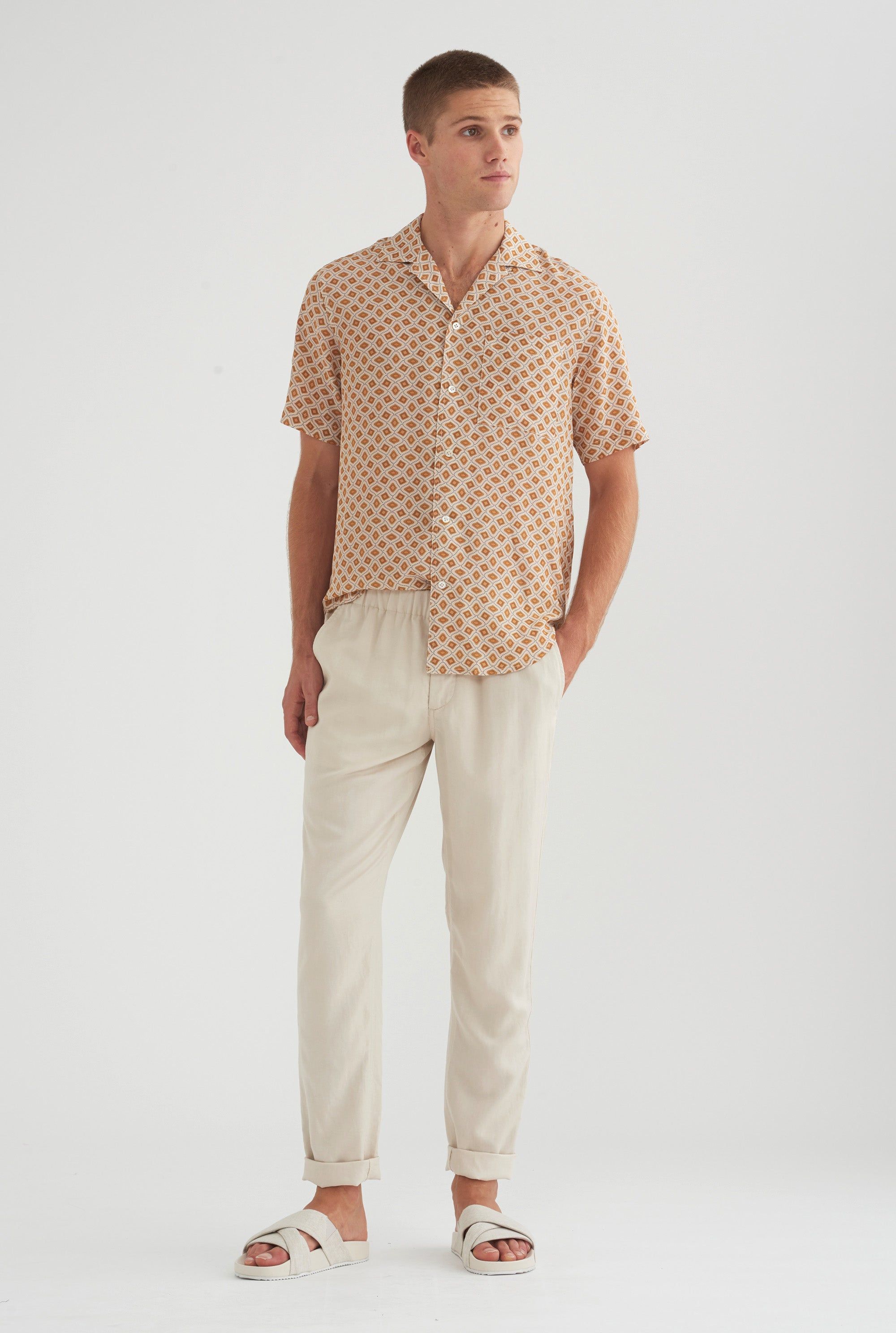 Tencel Lounge Chino - Oat/Taupe Tape