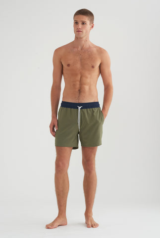 Swim Short - Olive/Charcoal Band