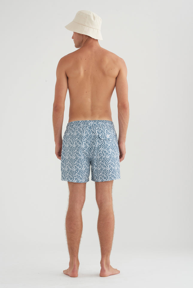 Swim Short - Teal Tile Print