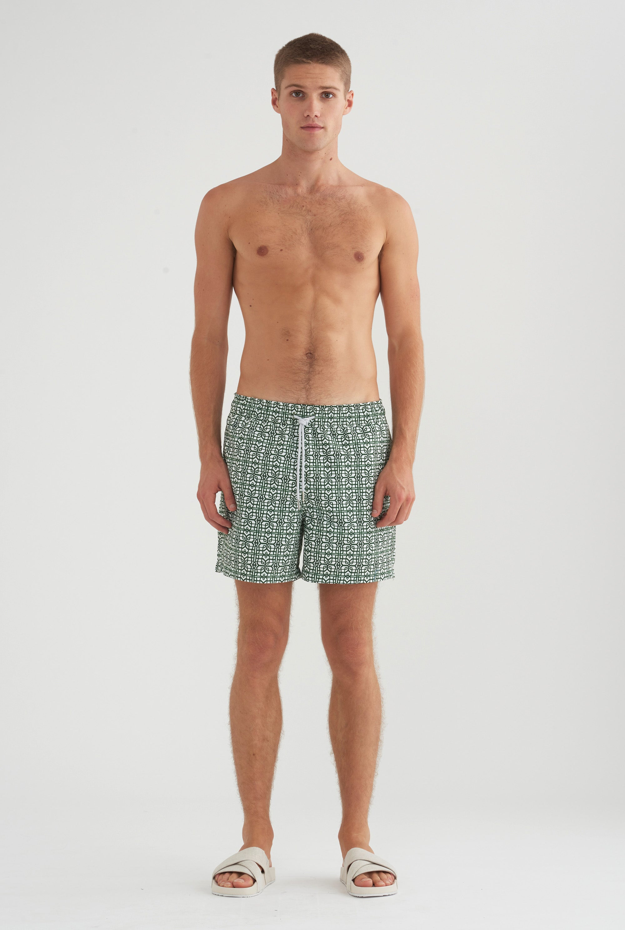 Swim Short - Green Geo Print