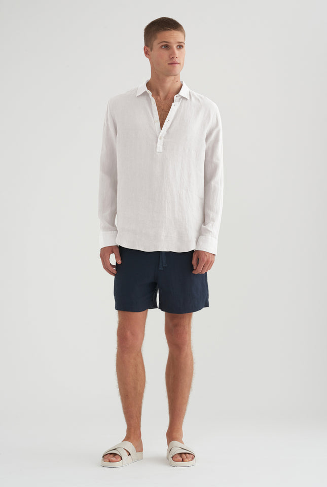 Cutaway Pop Over Shirt - White