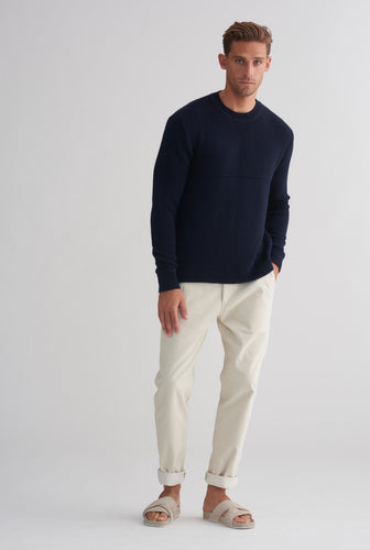 Wave Knit Sweater - Dark Navy