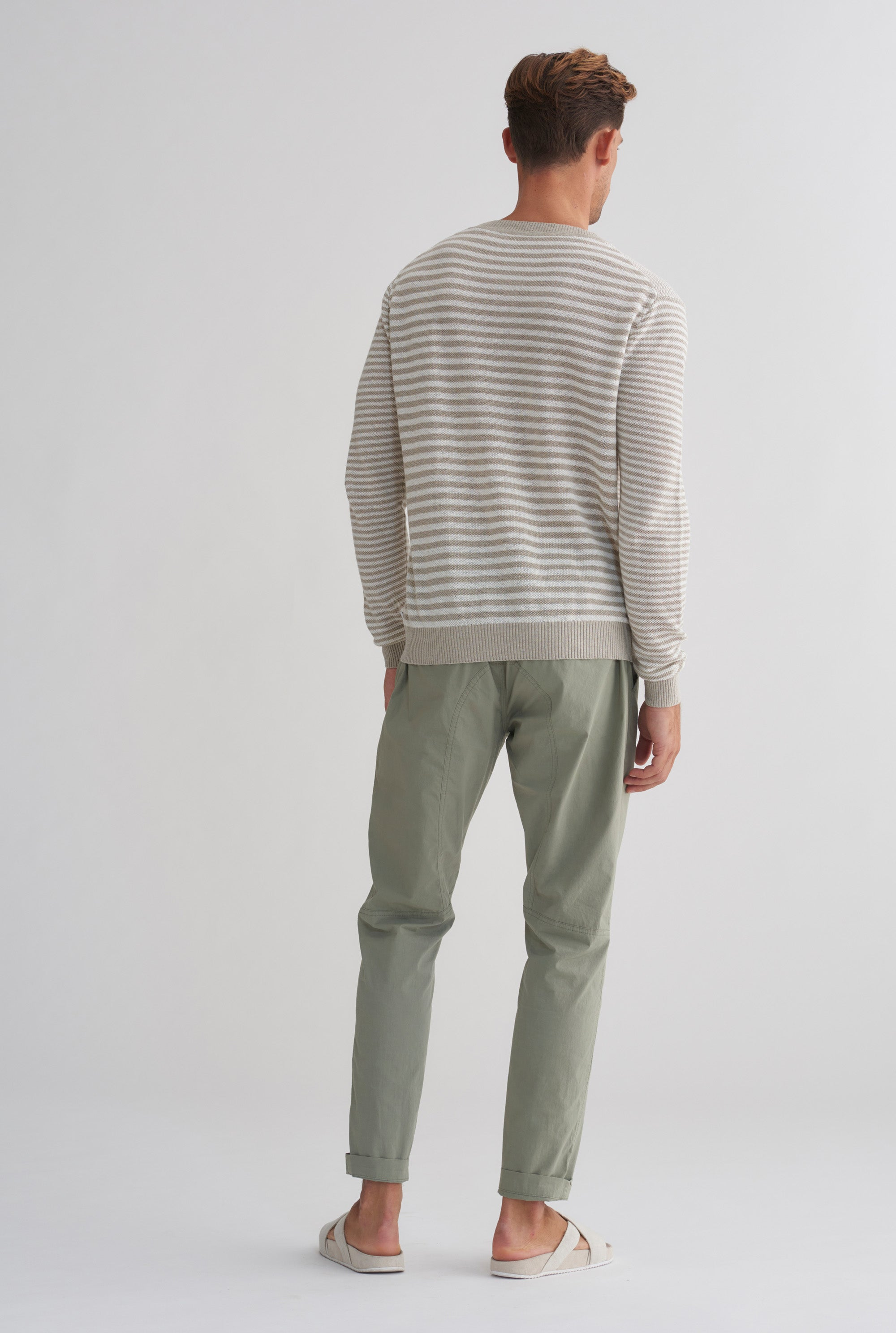 Light Weight Linen Sweater - Taupe/Off White Stripe