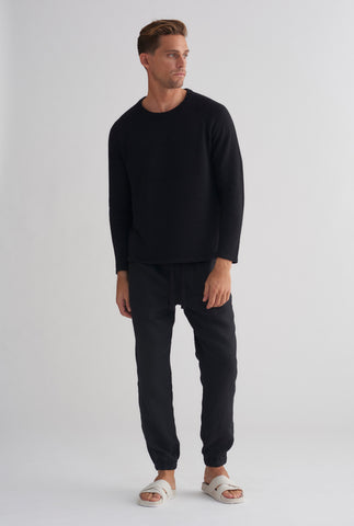 Linen Raglan Sweater - Black