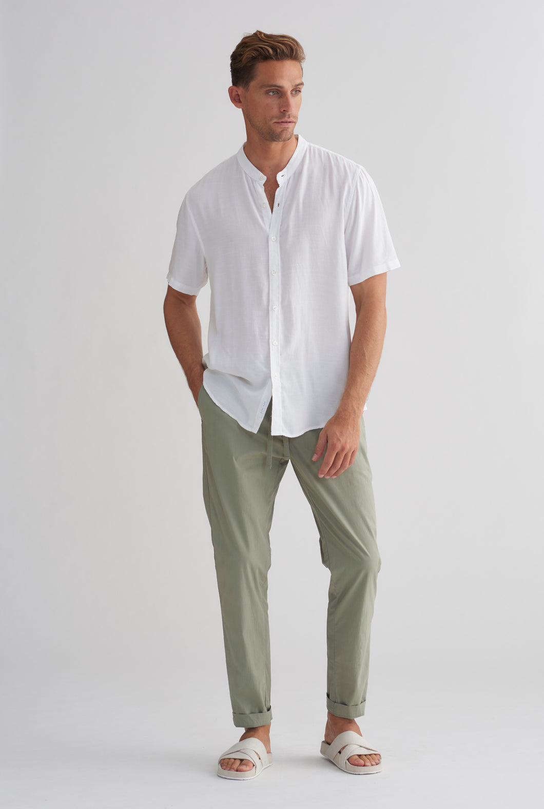 Tencel Short Sleeve Shirt - White