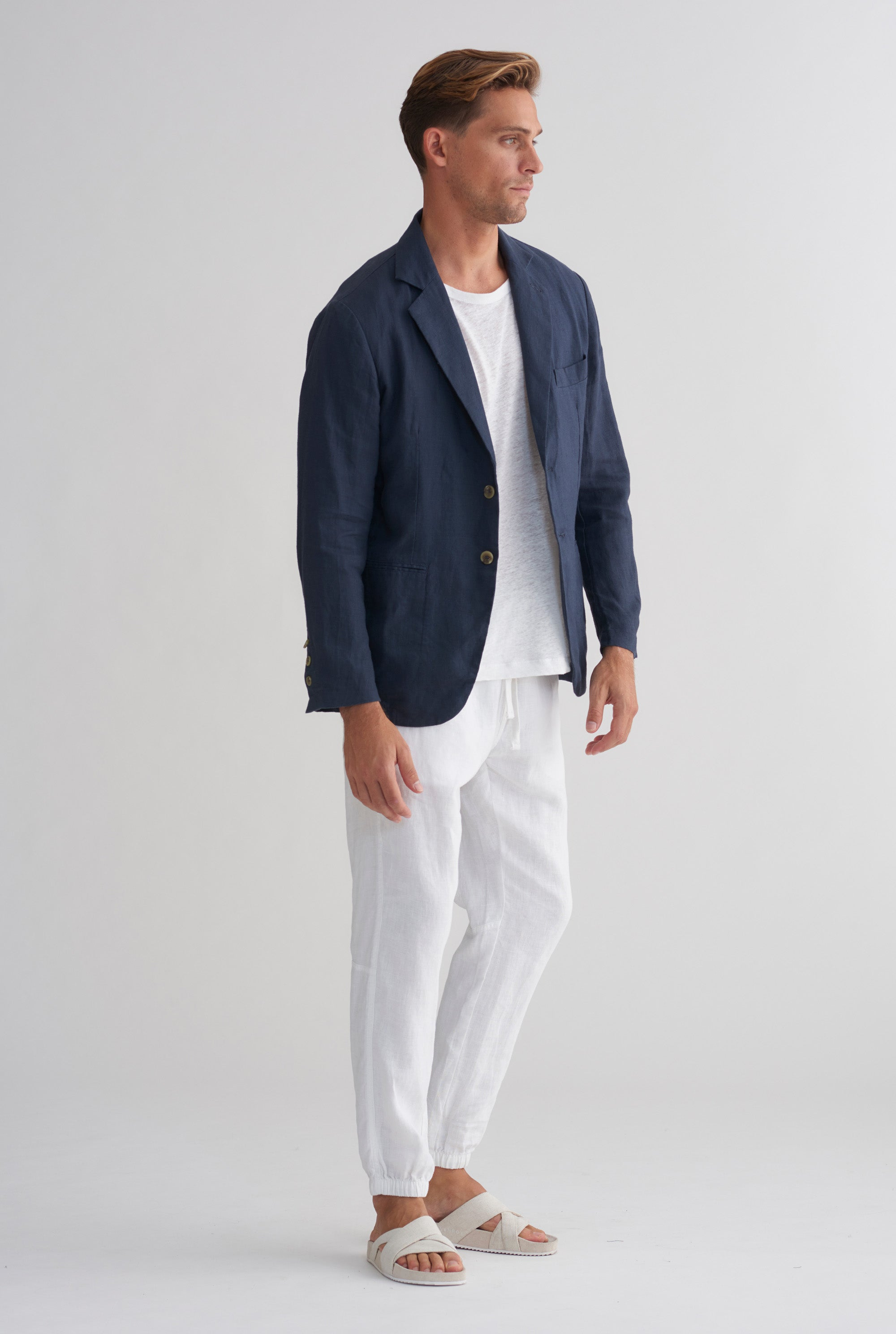 UNSTRUCTURED LINEN BLAZER - NAVY