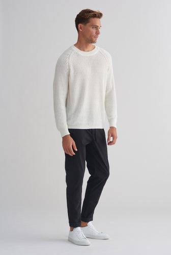 Linen Knit Raglan Sweater - Off White