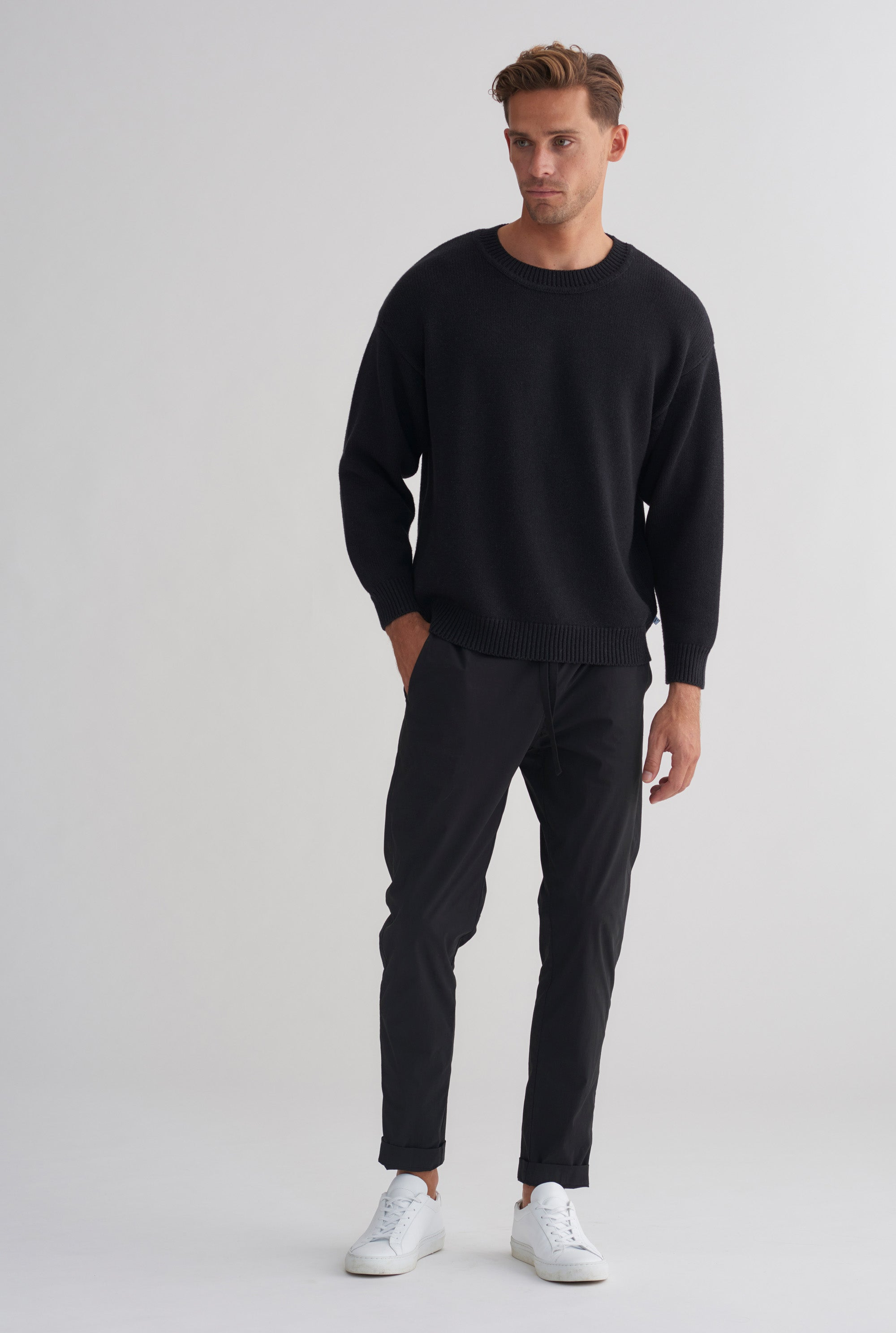 Drop Shoulder Sweater - Dark Charcoal