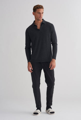 Long Sleeve Cashmere Polo - Dark Charcoal