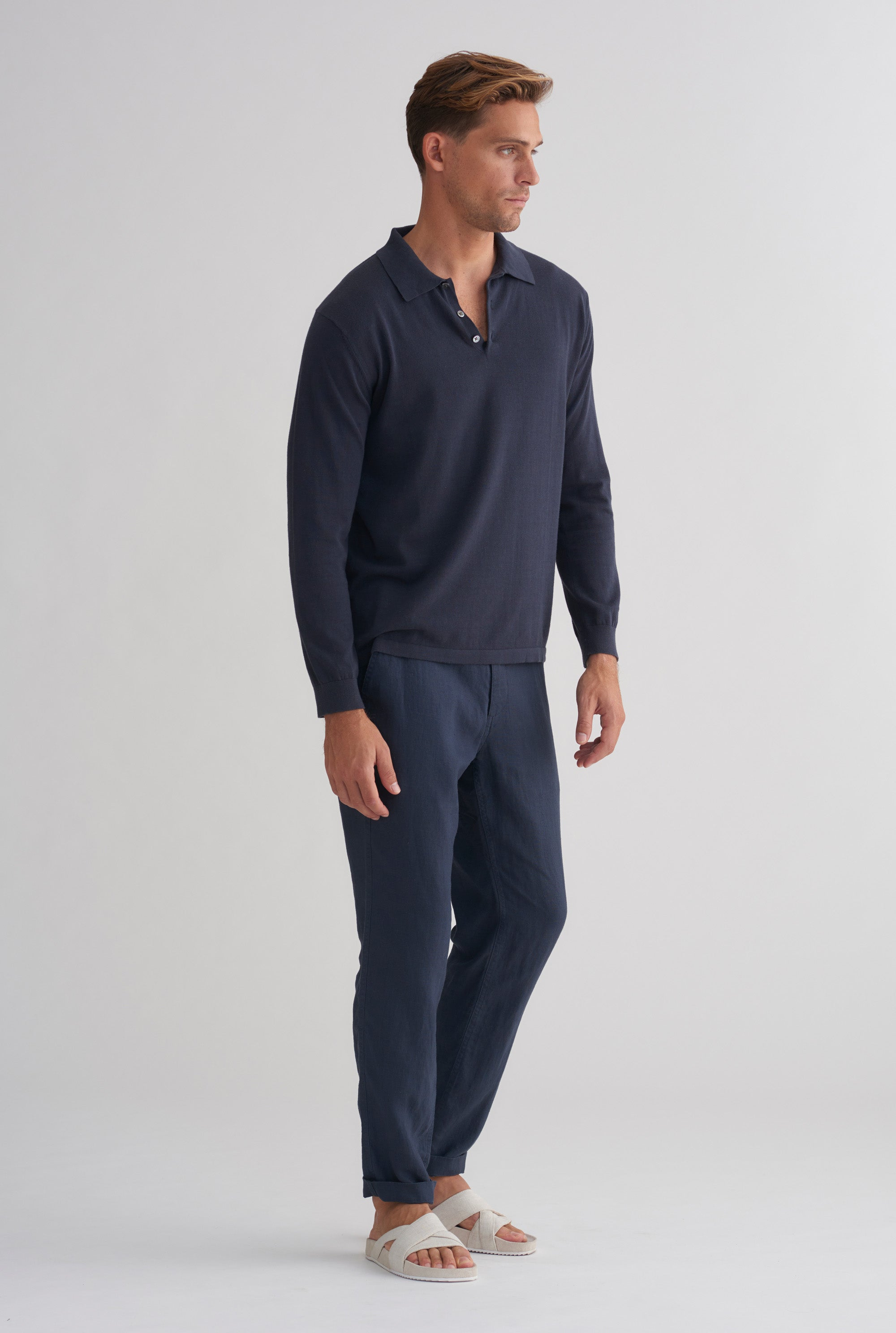 Long Sleeve Knitted Cotton Polo - Navy