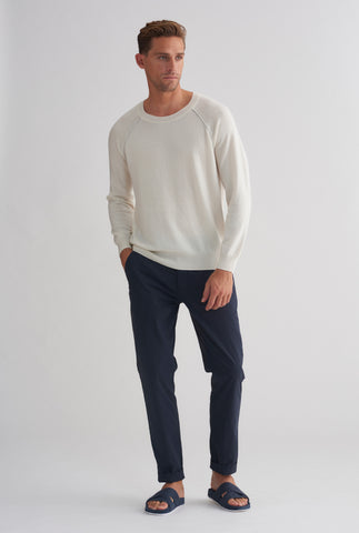 Exposed Seam Cashmere Raglan - Milk/Grey Marl Seam