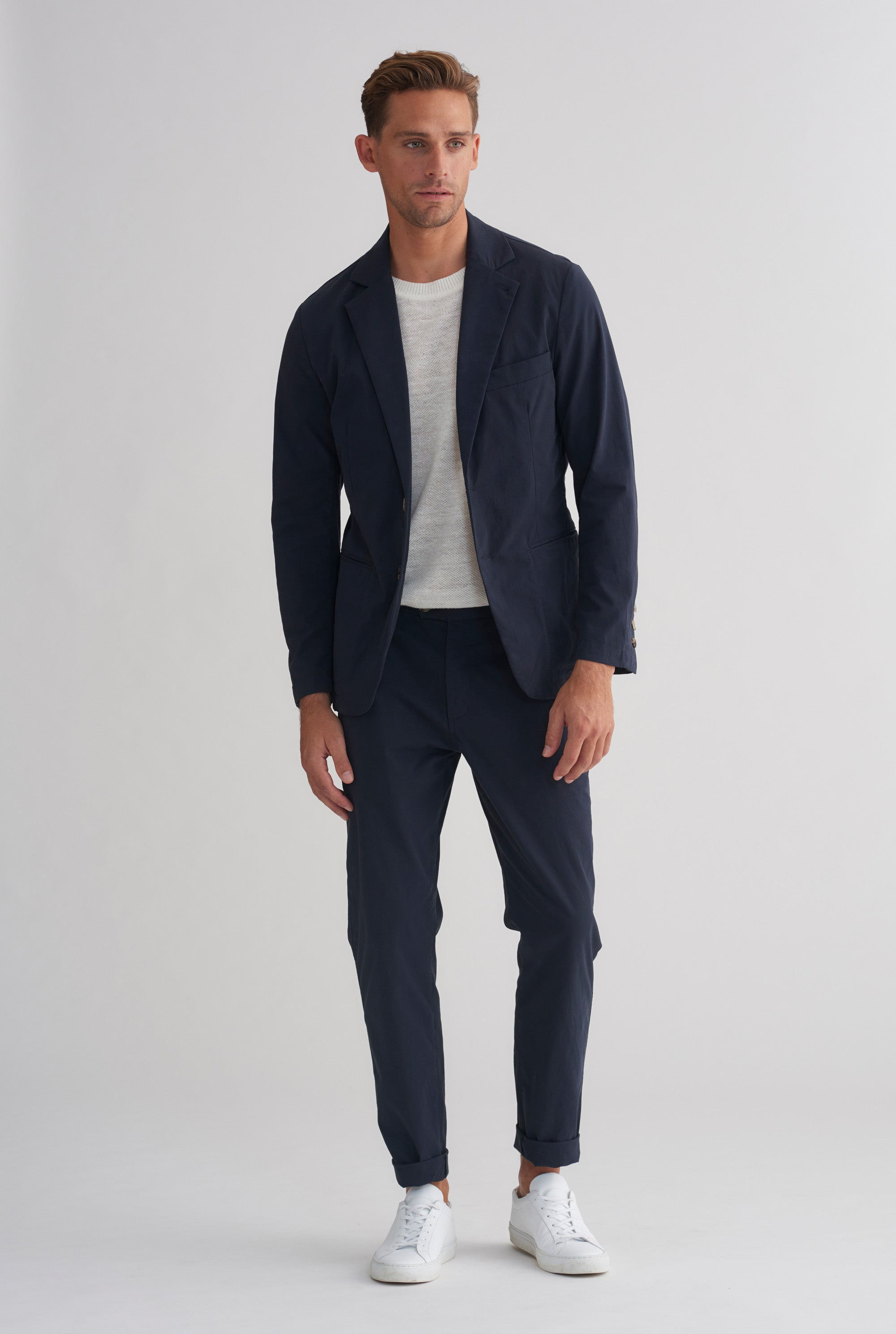 Cotton Stretch Side Tab Trouser - Navy