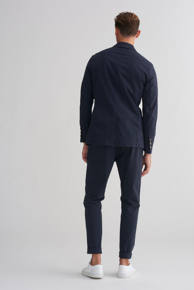 Cotton Stretch Unlined Blazer - Navy