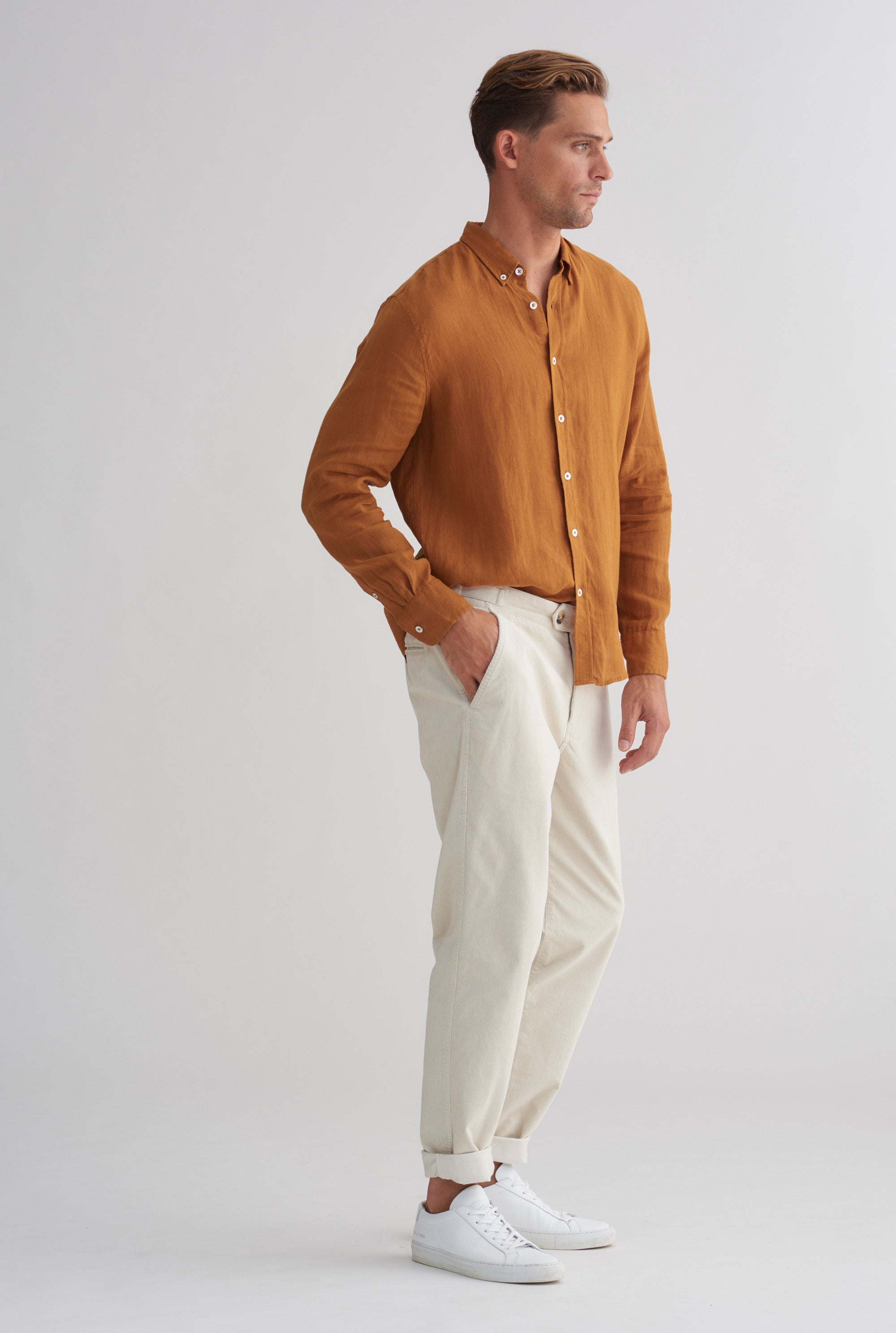 Cord Side Tab Trouser - Stone