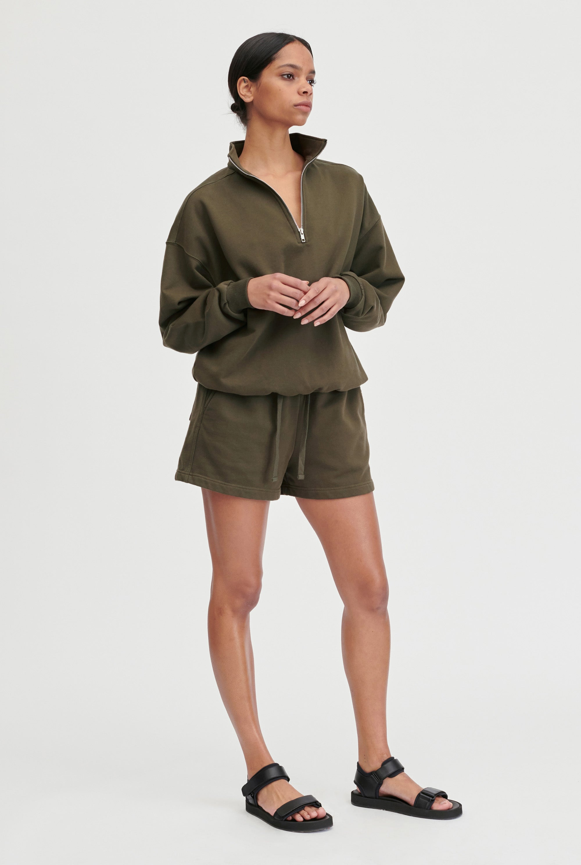 Womens Track Short - Dark Olive