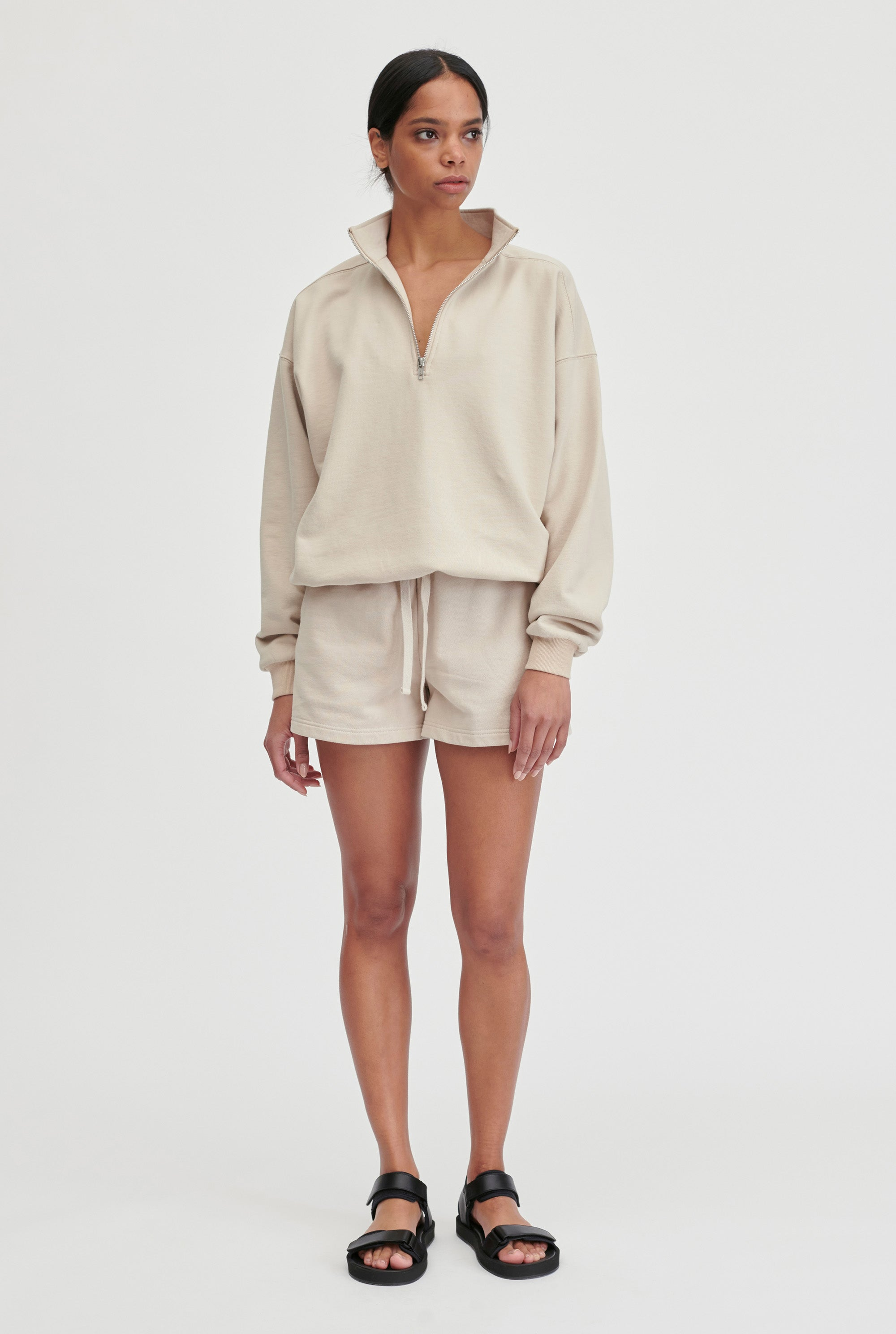 Unisex Track Zip Sweater - Oat