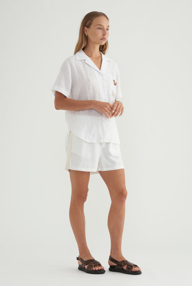 Side Stripe Short - White/HS Tape