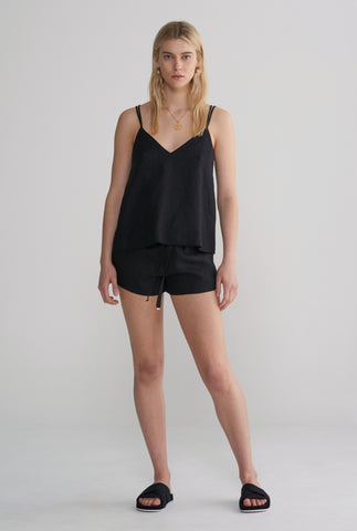 Womens V Neck Cami - Black