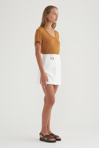 D-Ring Linen Skirt - White