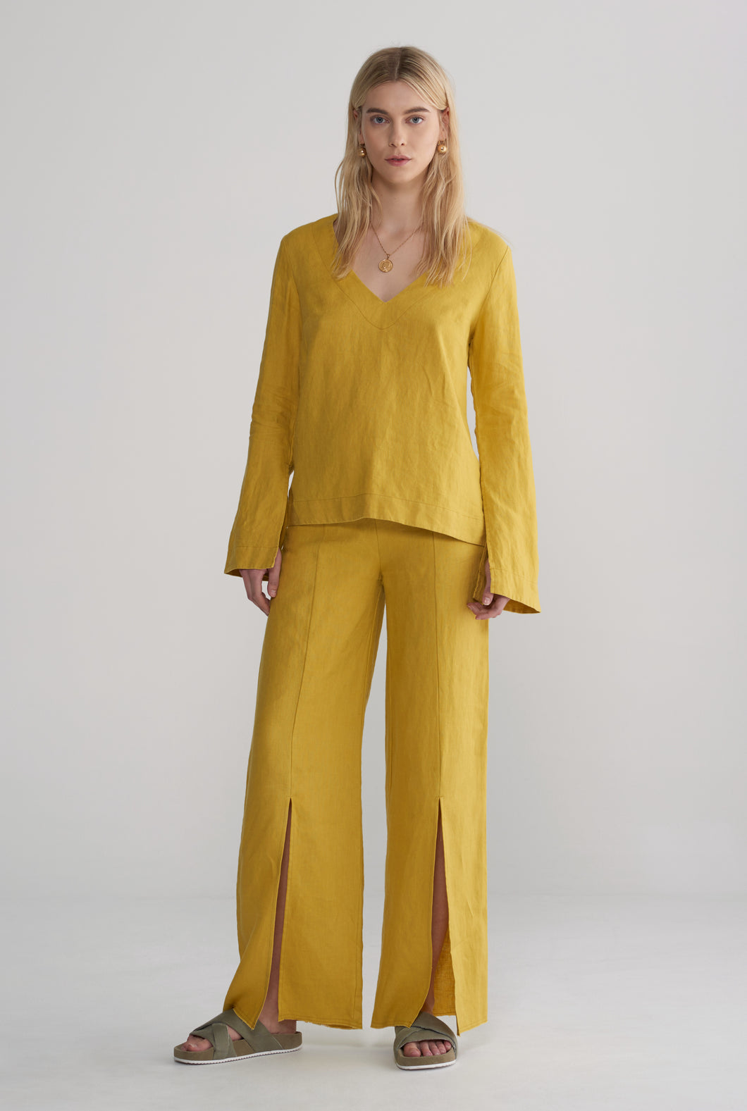 Split Sleeve Top - Mustard