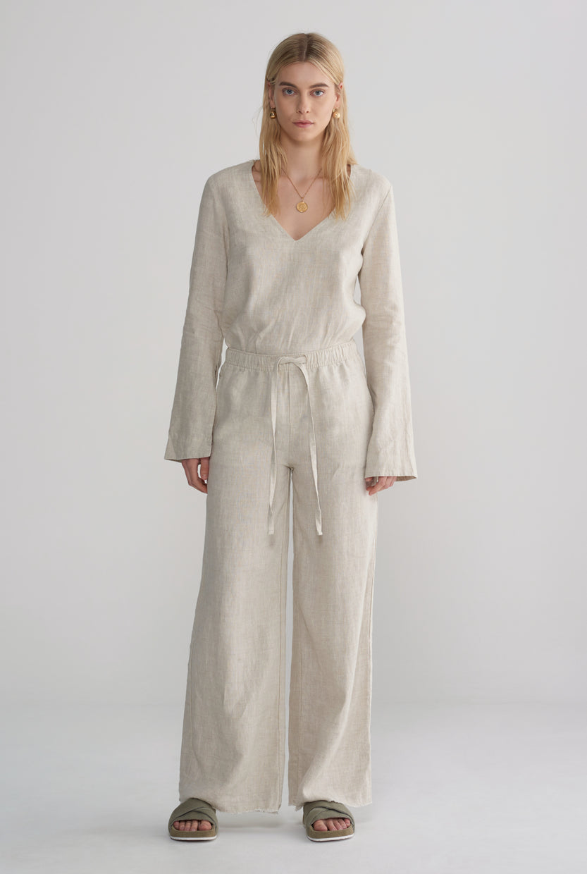 Womens Relaxed Wide Leg Pant - Sand