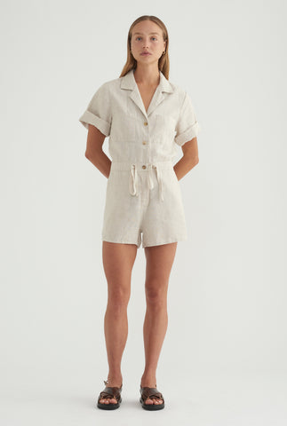 Short Sleeve Playsuit - Sand