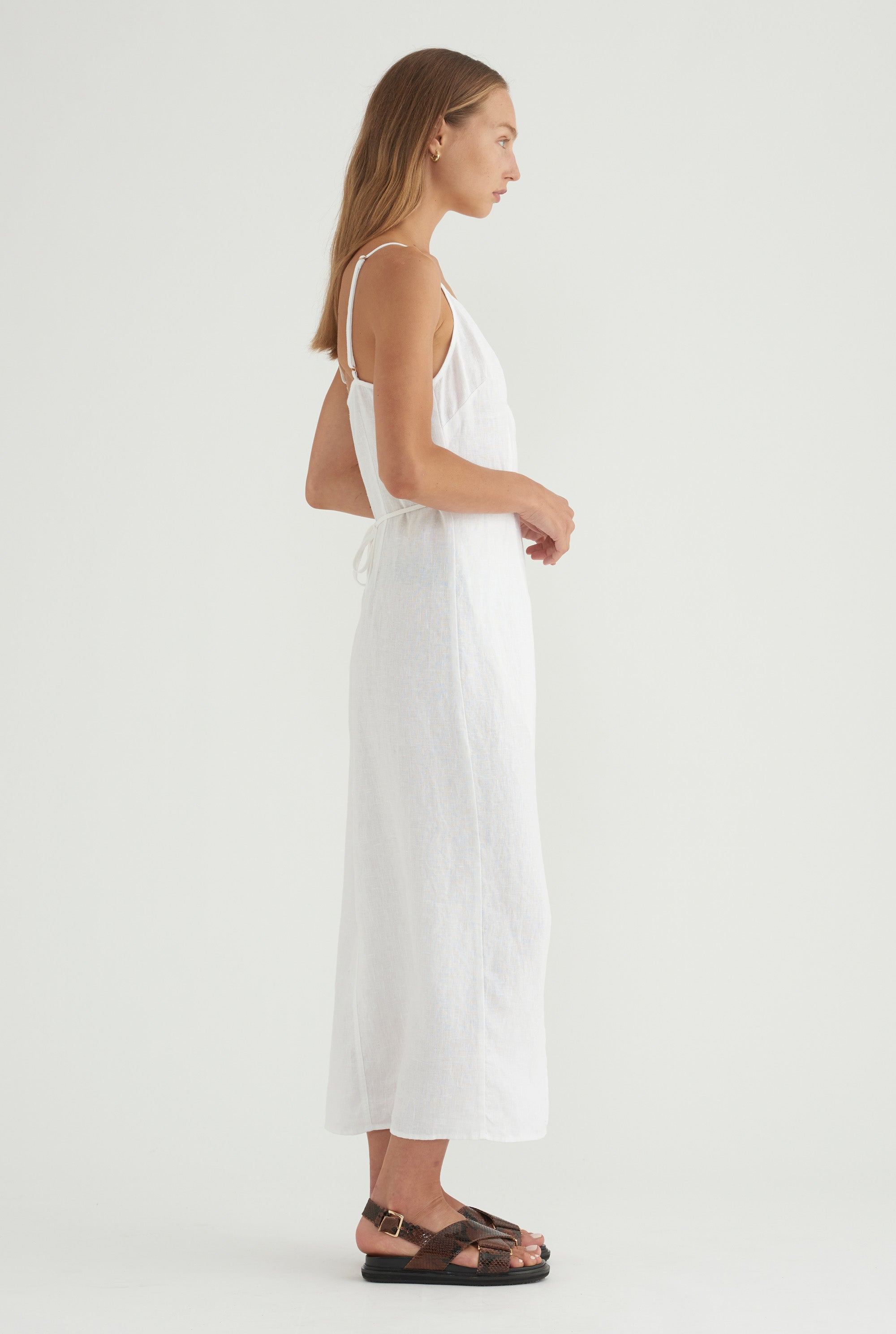 V-Neck Wrap Dress - White