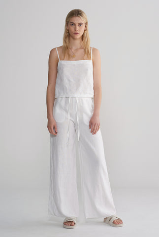Womens Relaxed Wide Leg Pant - White