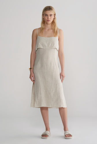 Fold Over Side Split Dress - Sand