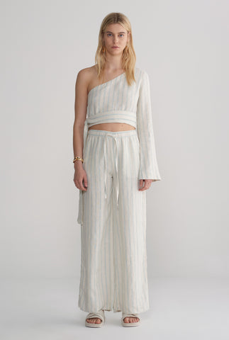 Womens Relaxed Wide Leg Pant - Summer Stripe