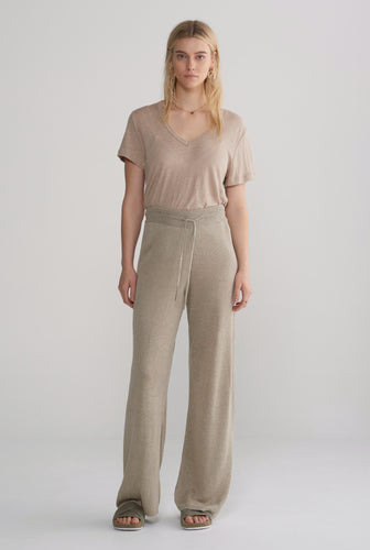 Linen Knitted Wide Leg Pant - Taupe