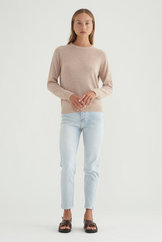 Womens Linen Raglan Sweater - Oat