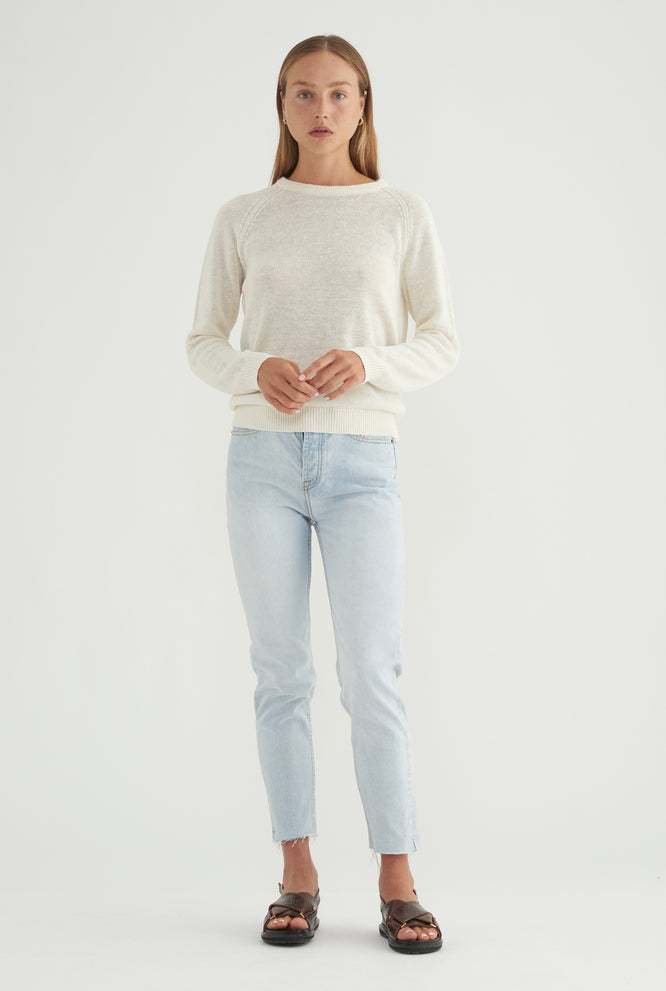 Womens Linen Raglan Sweater - Milk