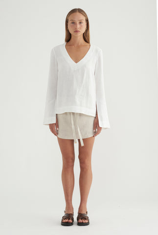Split Sleeve Top - White