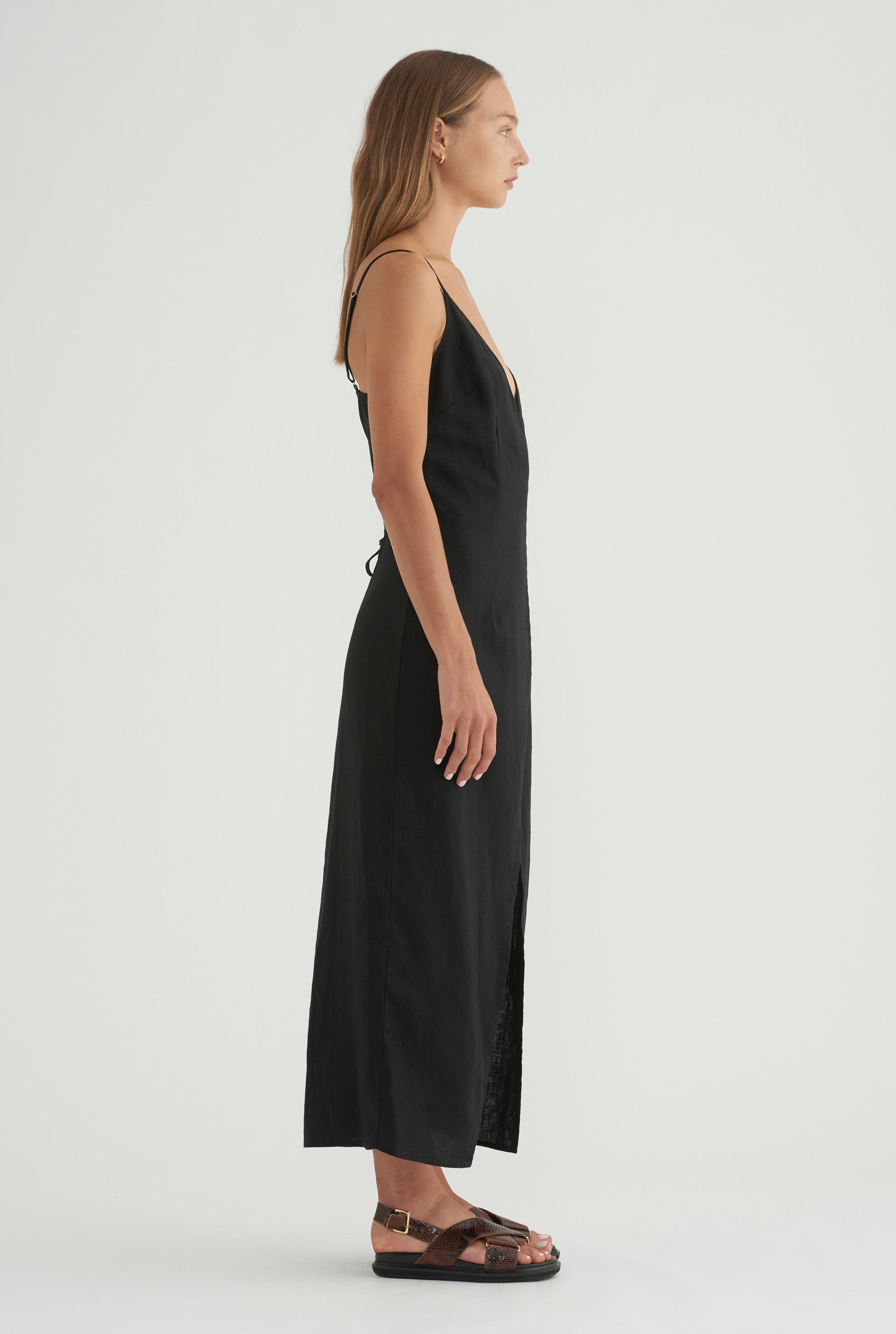 V-Neck Wrap Dress - Black