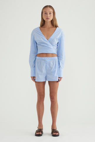 Poplin Boxer Short - Blue/White Stripe