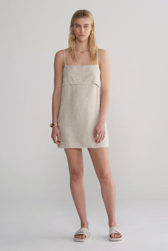 Fold Over Mini Dress - Sand