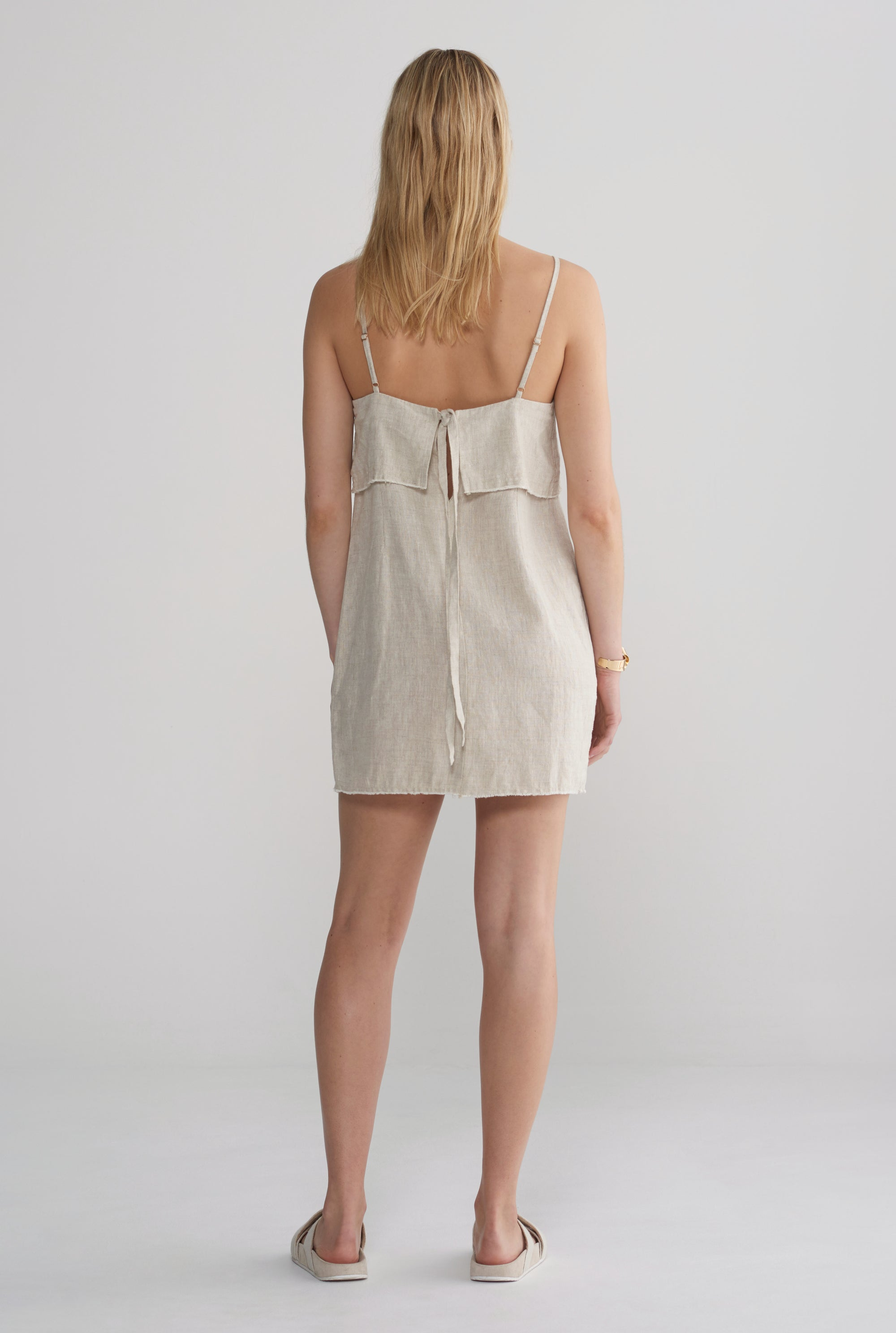 Womens Fold Over Mini Dress - Sand