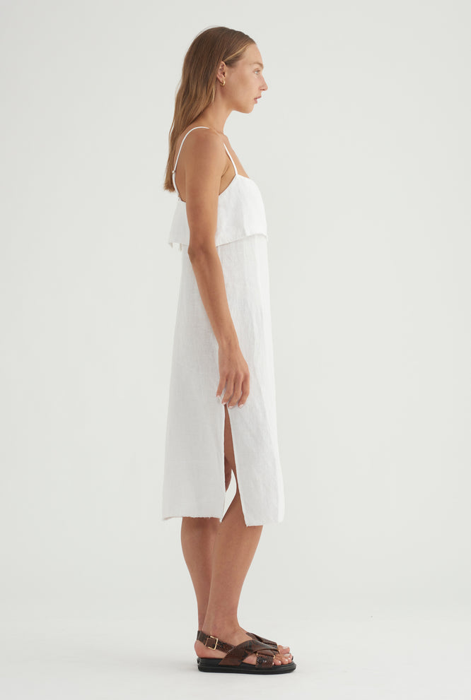 Fold Over Side Split Dress - White