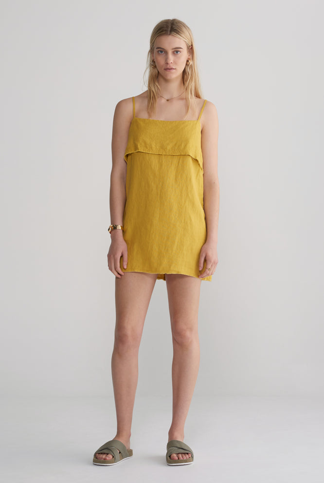 FOLD OVER MINI DRESS - YELLOW