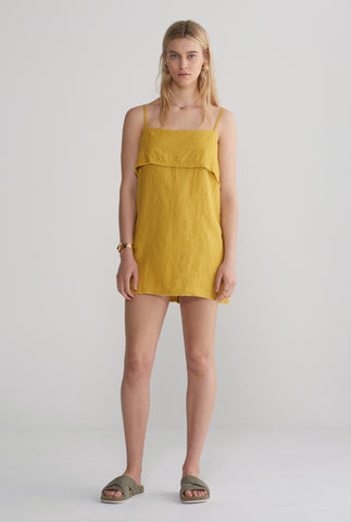 Womens Fold Over Mini Dress - Mustard