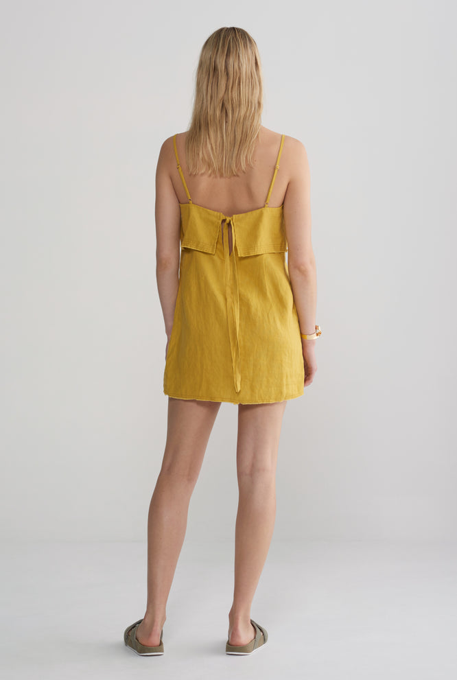 Fold Over Mini Dress - Mustard