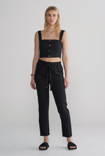 Button Front Bodice - Black